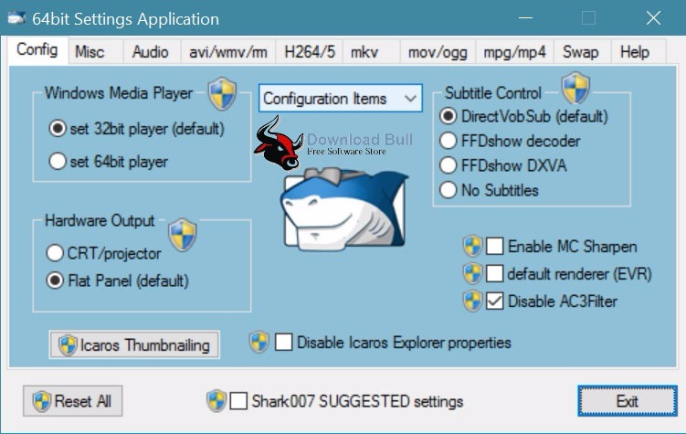 Advanced Codecs for Windows 7.0.3 User Interface