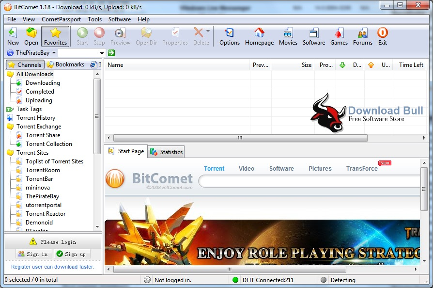 BitComet 1.45 User Interface