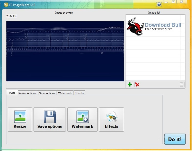 F2ImageResizer 2.9 User Interface