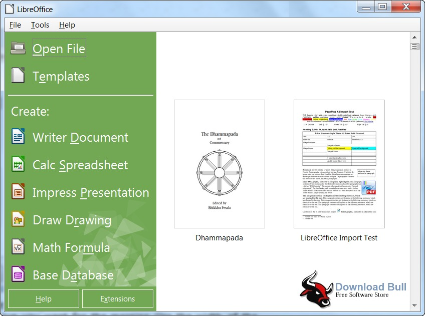 LibreOffice 5.2.4.2 Start Page