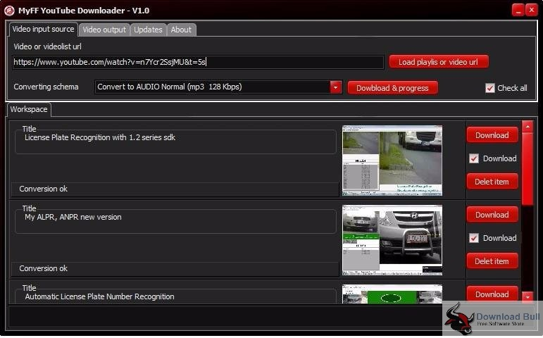 MyFF Youtube Downloader 1.2 User Interface