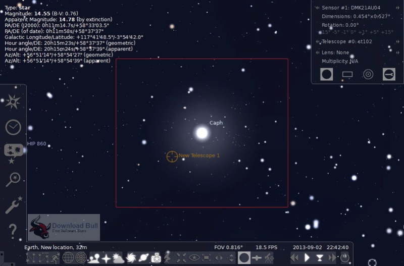 Stellarium Portable 0.15.1.1 User Interface
