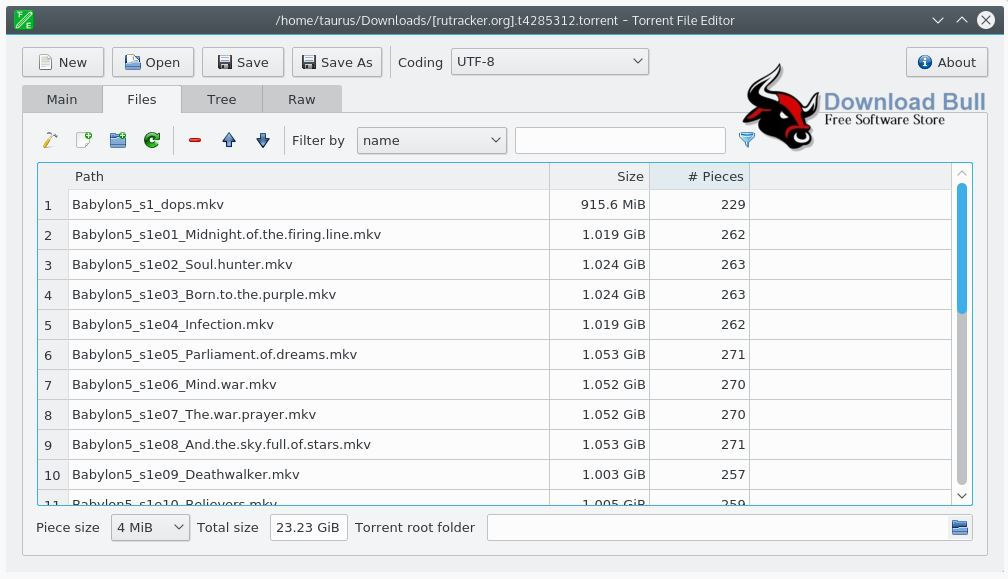 Torrent File Editor 0.3.1 User Interface