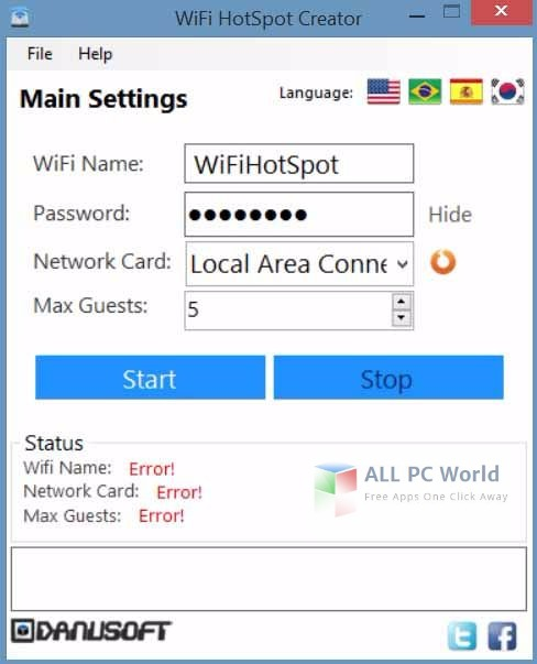 WiFi HotSpot Creator 2.0 User Interface