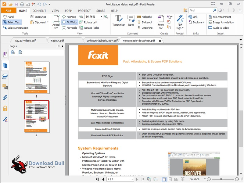 Foxit Reader 8 Portable User Interface