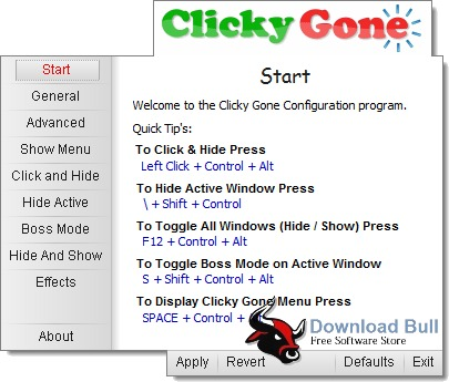 Portable Clicky Gone 1.4 User Interface