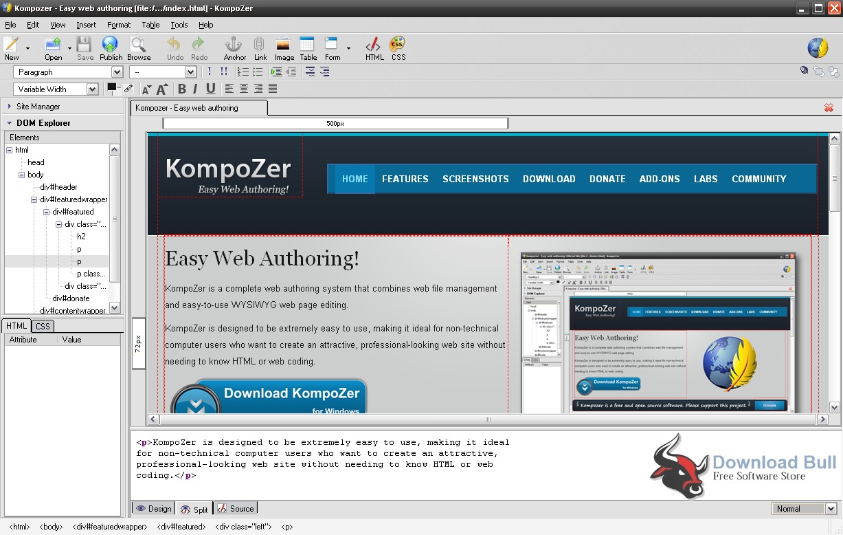 Portable KompoZer 0.8 User Interface