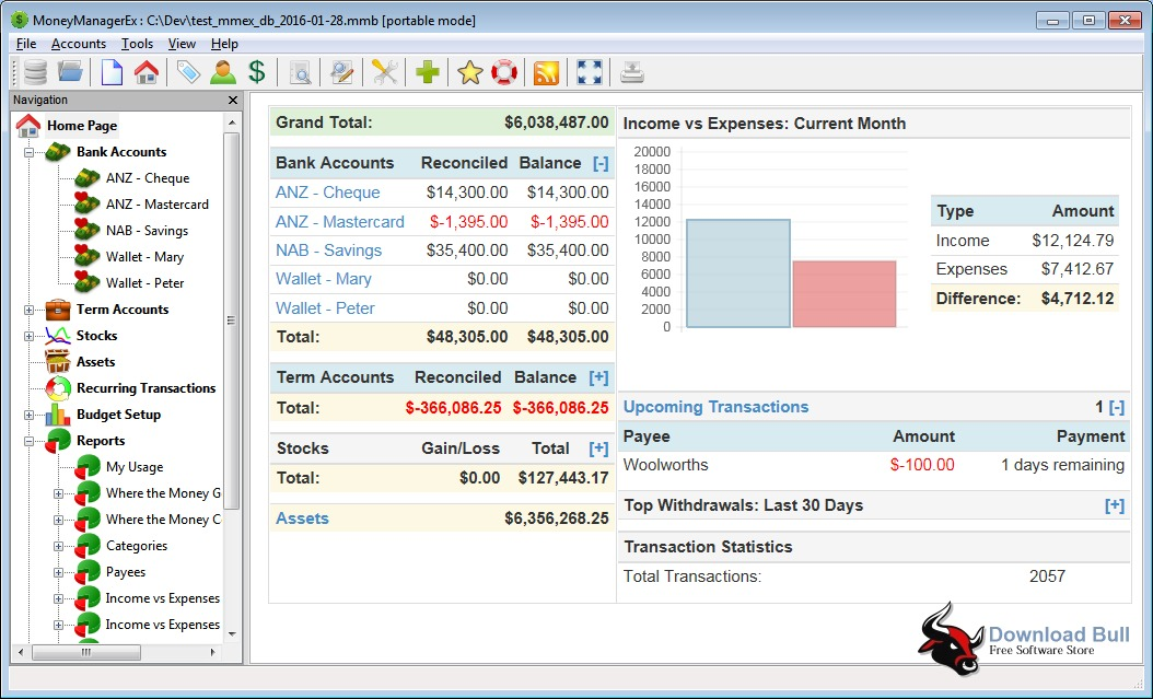 Portable Money Manager Ex 1.3.1 User Interface