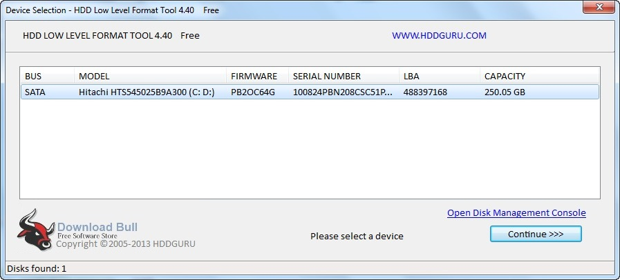 Portable HDD Low-Level Format Tool User interface