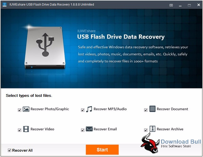 Portable USB Flash Drive Data Recovery User Interface