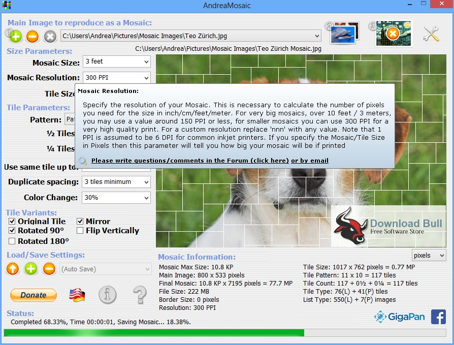 Portable AndreaMosaic 3.37 Free Download