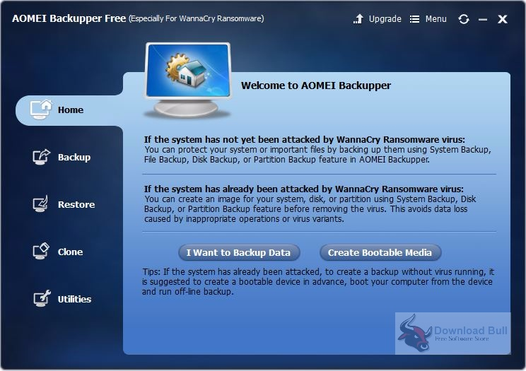 Download AOMEI Backupper free for WannaCry Ransomware