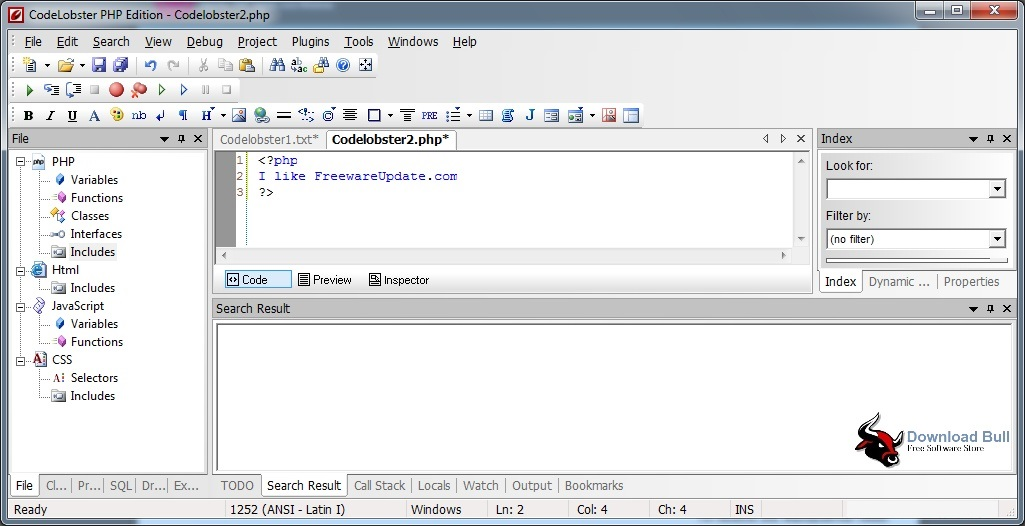 Download CodeLobster PHP Edition Portable 5.12 Free