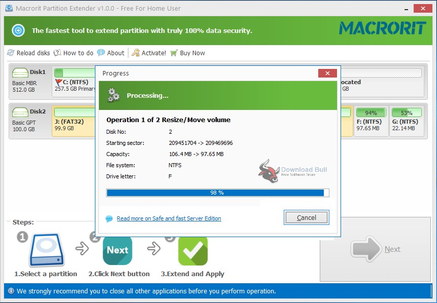 Download Portable Macrorit Partition Extender Professional 1.2