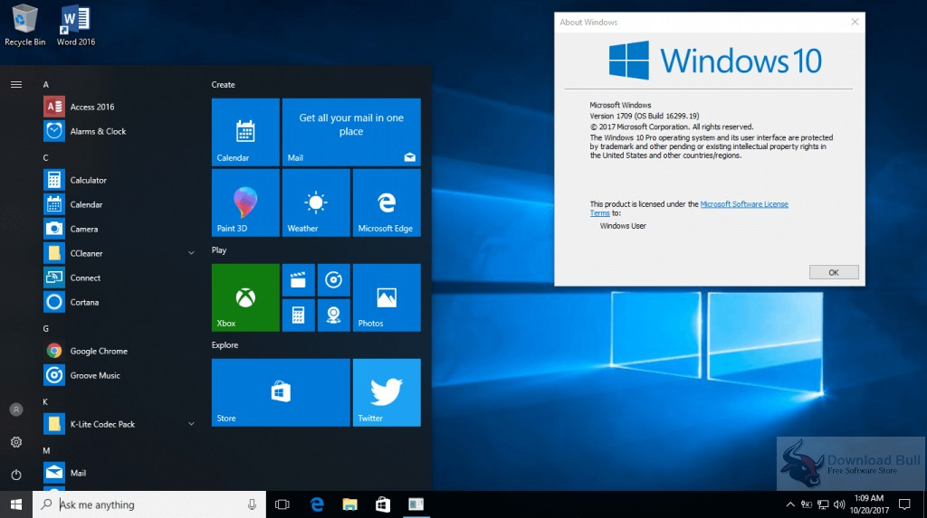 Windows 10 Professional 1709 Free Download