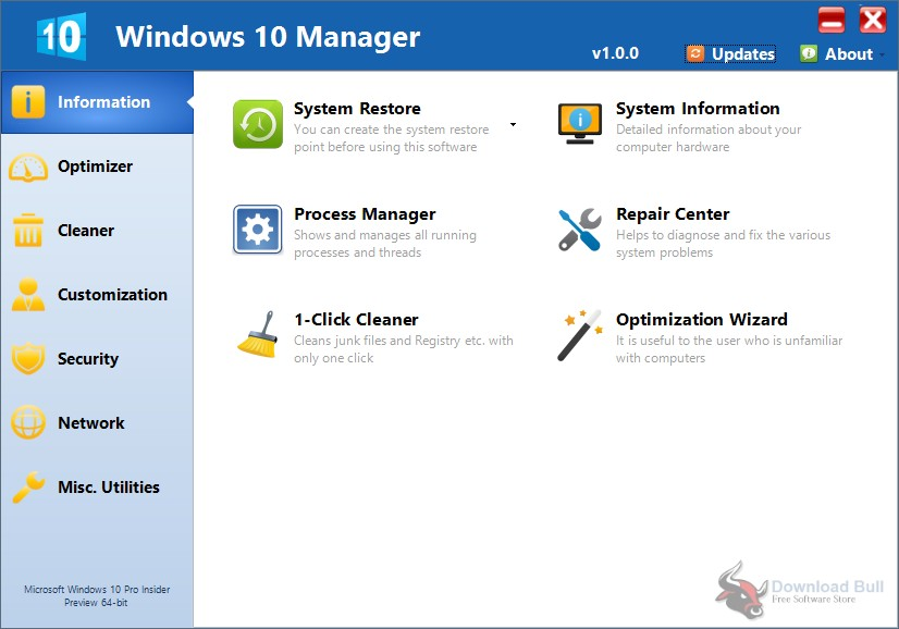 Portable Yamicsoft Windows 10 Manager 3.0