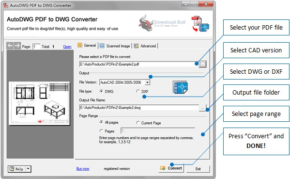 Portable AutoDWG PDF to DWG Converter Pro 2019 v3.9